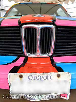Front view of car painted by Portland Artist Tom Cramer
